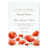 Elegant Red Poppy Flowers Wedding Invitation