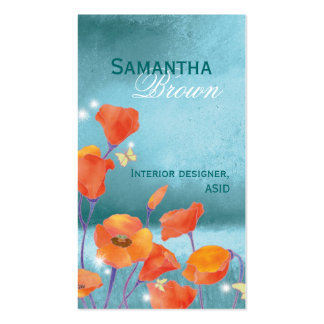 Elegant Red Poppy Nature Business Cards