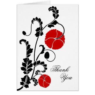 Elegant Red Poppy Thank You Note Card
