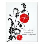 "Elegant Red Poppy Wedding RSVP / Reply Cards 4.25"" X 5.5"" Invitation Card"
