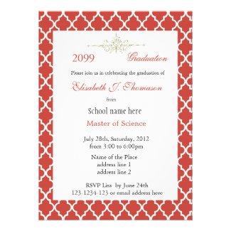 Elegant red quatrefoil pattern graduation personalized invitation