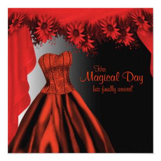 Elegant Red Quinceanera Card
