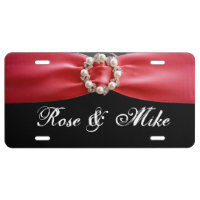 Elegant Red ribbon Pearl License Plate