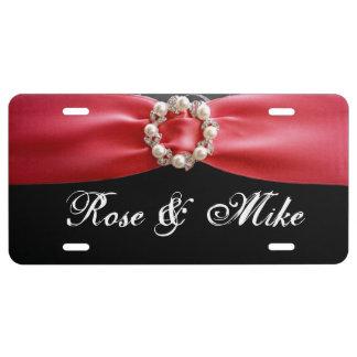 Elegant Red ribbon Pearl License Plate License Plate