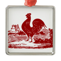 Elegant Red Rooster Vintage Country Farm Metal Ornament