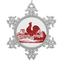 Elegant Red Rooster Vintage Country Farm Snowflake Pewter Christmas Ornament