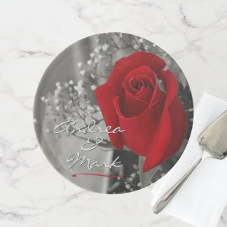 Elegant Red Rose Baby's Breath Monochrome Cake Stand