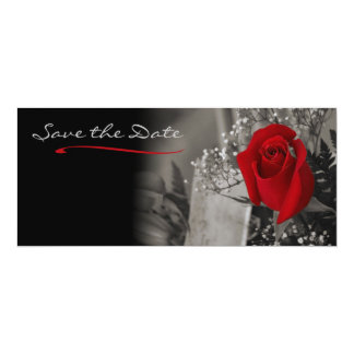Elegant Red Rose Black and White Save the Date 4x9.25 Paper Invitation Card