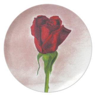 Elegant Red Rose by CricketDiane Melamine Plate