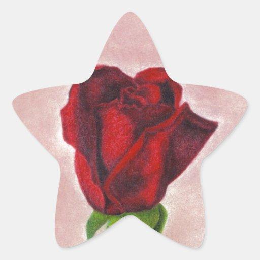 Elegant Red Rose by CricketDiane Star Sticker