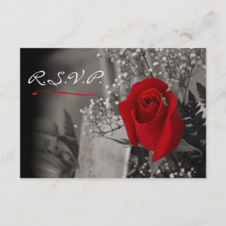 Elegant Red Rose Fade Out Black and White RSVP