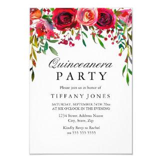 Elegant Red Rose Flower Quinceanera Party invite