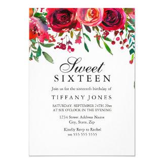 Elegant Red Rose Flower Sweet 16 birthday invite