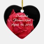 Elegant Red Rose Personalized Flower Girl Double-Sided Heart Ceramic Christmas Ornament
