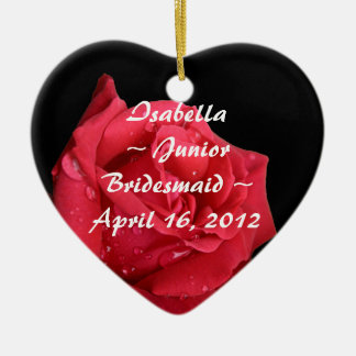Elegant Red Rose Personalized Junior Bridesmaid Double-Sided Heart Ceramic Christmas Ornament
