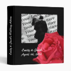 Elegant Red Rose Personalized Wedding Album 3 Ring Binder