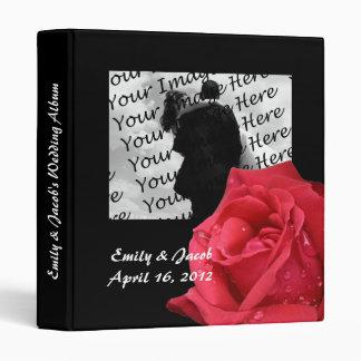 Elegant Red Rose Personalized Wedding Album 3 Ring Binder