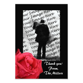 Elegant Red Rose Photo Thank You Notes Card