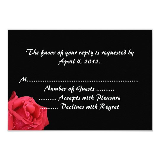Elegant Red Rose Reply Cards