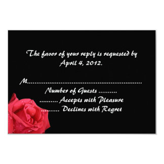 Elegant Red Rose Reply Cards Announcement