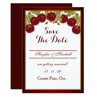 Elegant Red Rose Save The Date Card