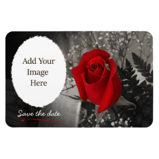 Elegant Red Rose Save the Date Oval Opening Magnet