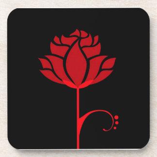 Elegant Red Rose Set of 6 Coasters