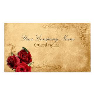 Elegant Red Rose Vintage Antique Double-Sided Standard Business Cards (Pack Of 100)