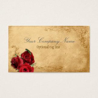 Elegant Red Rose Vintage Antique Business Card