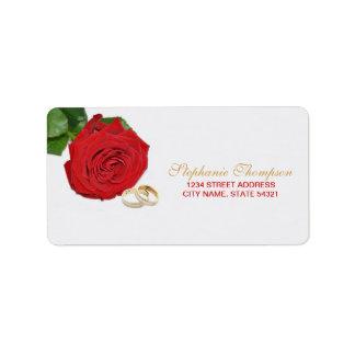 Elegant Red Rose Wedding Address Label
