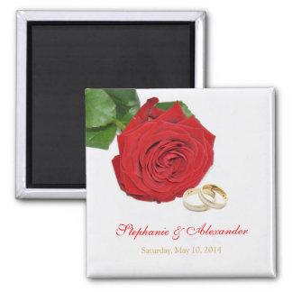 Elegant Red Rose Wedding Favor Magnet
