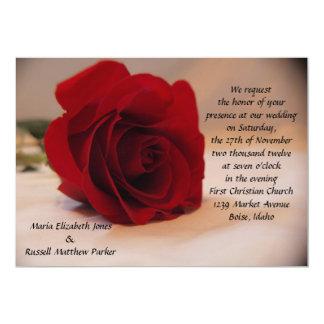 Elegant Red Rose Wedding 5x7 Paper Invitation Card