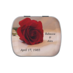Elegant Red Rose Wedding Jelly Belly Tin at Zazzle