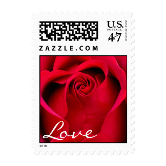 Elegant Red Rose Wedding Stamp