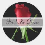 Elegant Red Rose Wedding Stickers