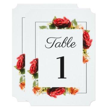 Wedding Themed Elegant Red Rose Wedding Table Number