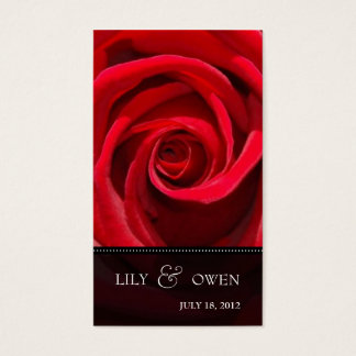 elegant red rose wedding website business card