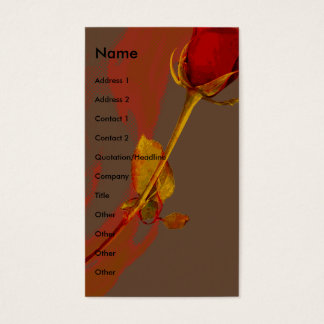 elegant red rose with a golden touch business card