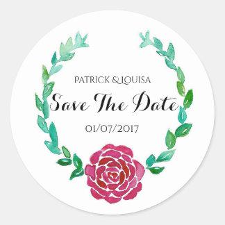 Elegant Red Rose Wreath Save The Date Sticker