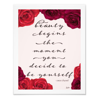 Elegant Red Roses Beauty Fashion Quote Photo Print