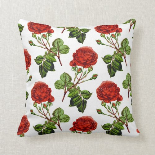 Elegant Red Roses Floral Flowers Pattern   Throw Pillow