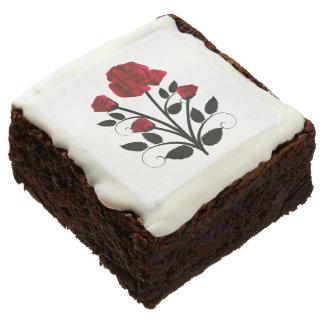 Elegant Red Roses Goth Art Chocolate Brownie