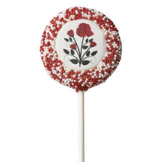 Elegant Red Roses Goth Art Chocolate Dipped Oreo Pop