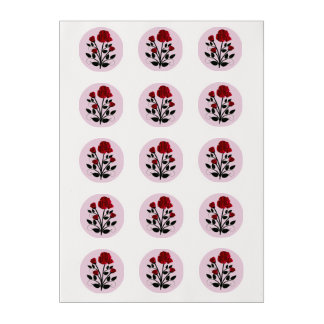 Elegant Red Roses Goth Art Edible Frosting Rounds