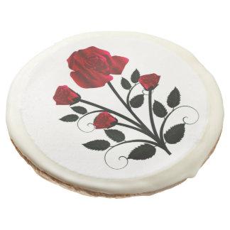 Elegant Red Roses Goth Art Sugar Cookie