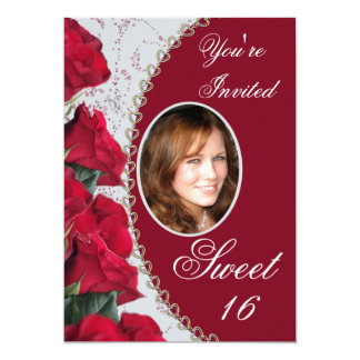Elegant Red Roses Sweet 16  Photo Invitation
