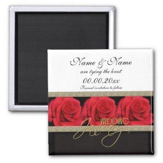 Elegant red roses wedding save the date invitation magnet
