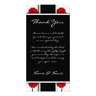 Elegant red roses - wedding thank you cards