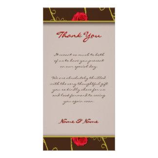 Elegant red roses - wedding thank you photo card
