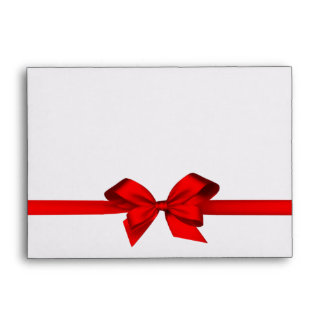 Elegant Red Satin Bow on White Envelope